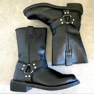 DEMONIA Black Leather Harness Boot Size 10